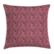 Pink Zebra Throw Pillow Cushion Cover Flamingos Toucans