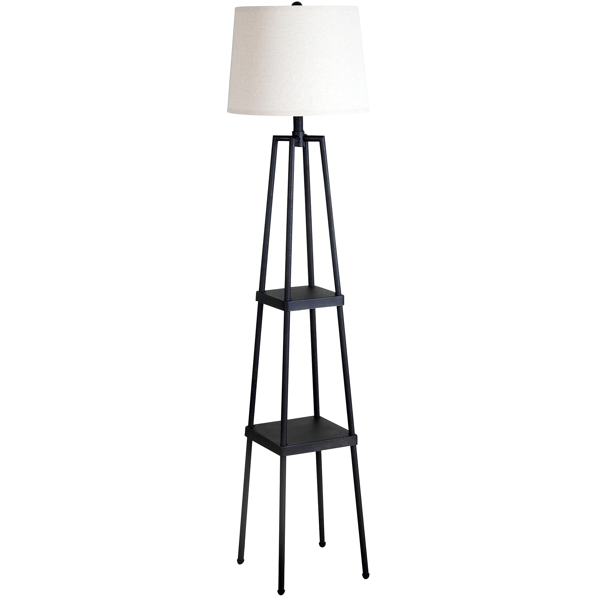 Mainstays Black Shelf Floor Lamp with White Shade On/Off