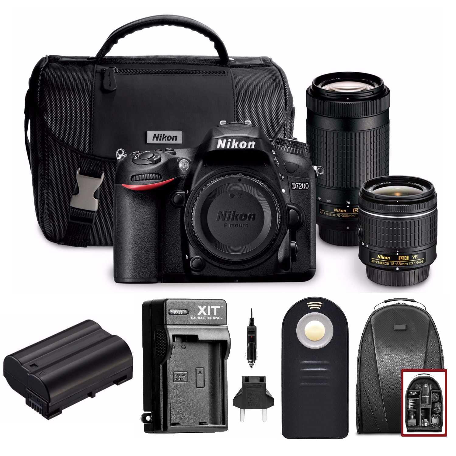 Nikon D7200 DSLR Camera with 18-55mm and 70-300mm Dual Lenses + Holiday Bundle - Walmart.com - Walmart.com