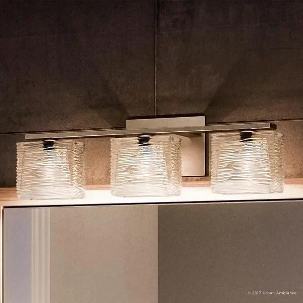 urban ambiance luxury modern bathroom vanity light medium size 6 75 h x 22 5 w with brushed nickel finish and sandblasted inner glass clear wavy