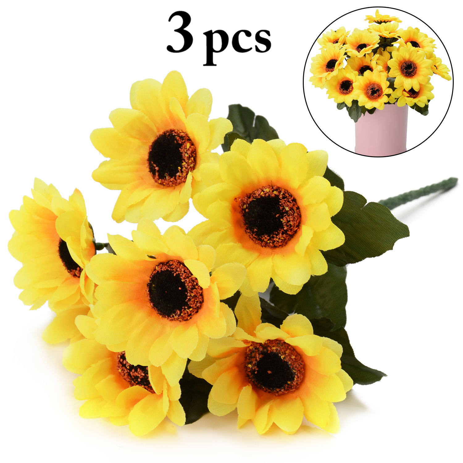 3 bunches artificial flowers