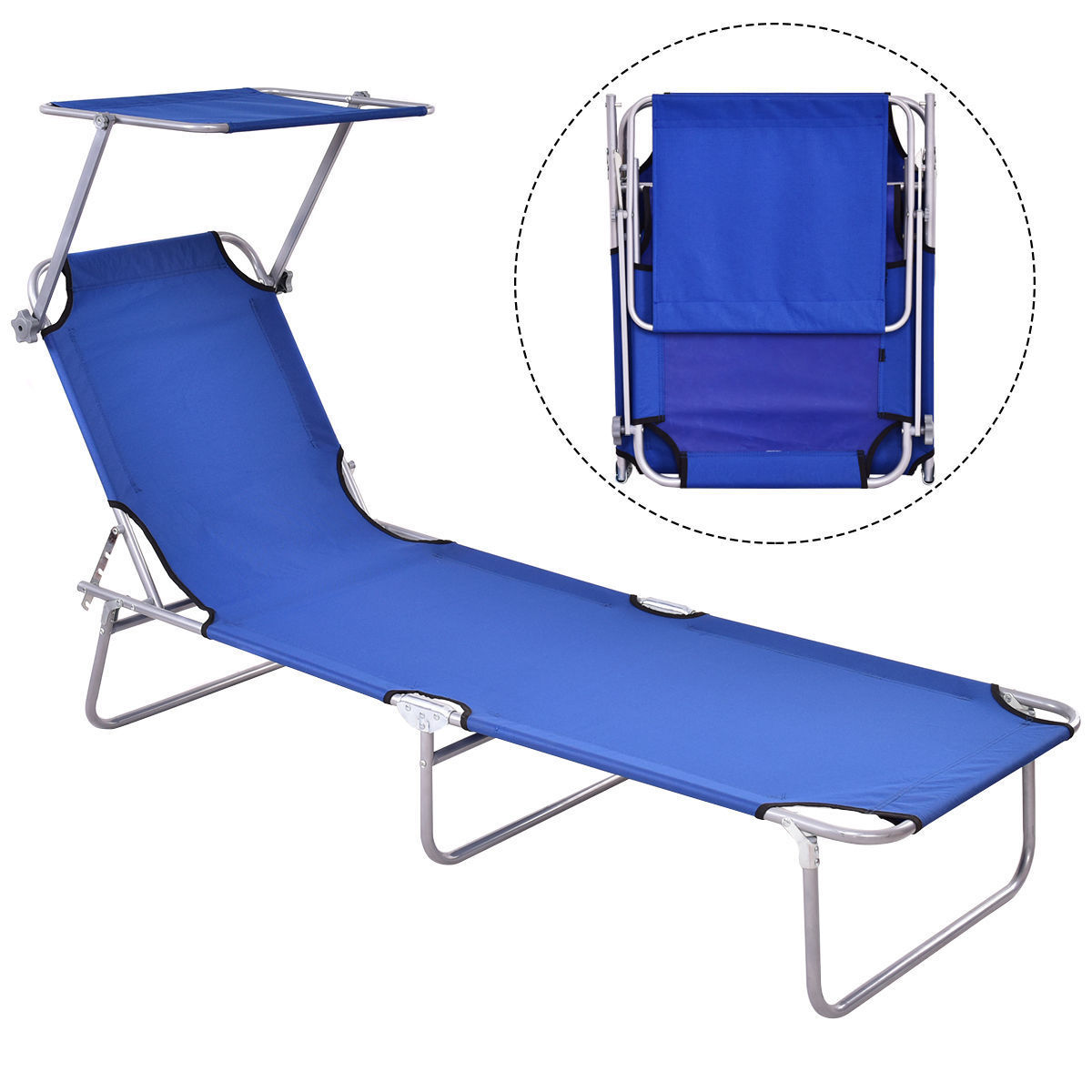 Foldable Bed Chair Gymax Foldable Sun Lounge Bed Chair Beach Recliner Seat Back Blue