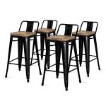 Metropolis Low Back Metal Counter Stool With Wood Seat Set Of 4 Multiple Colors Walmart Com Walmart Com