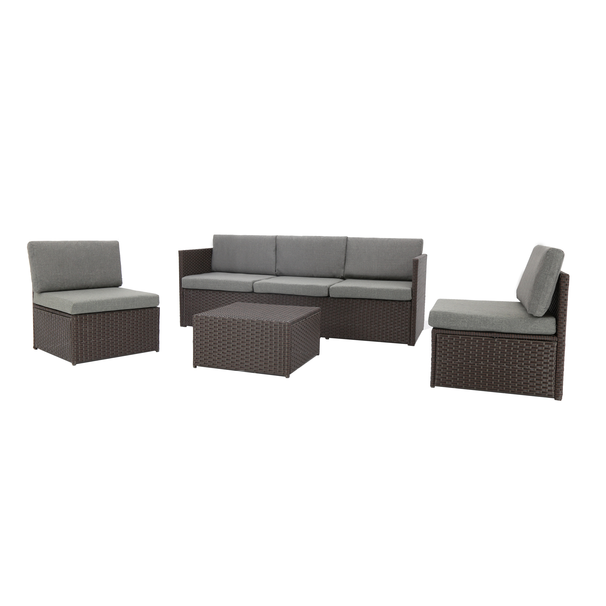 baner garden k16ch 4 piece complete outdoor furniture seating patio resin wicker rattan sectional steel set with cushions chocolate