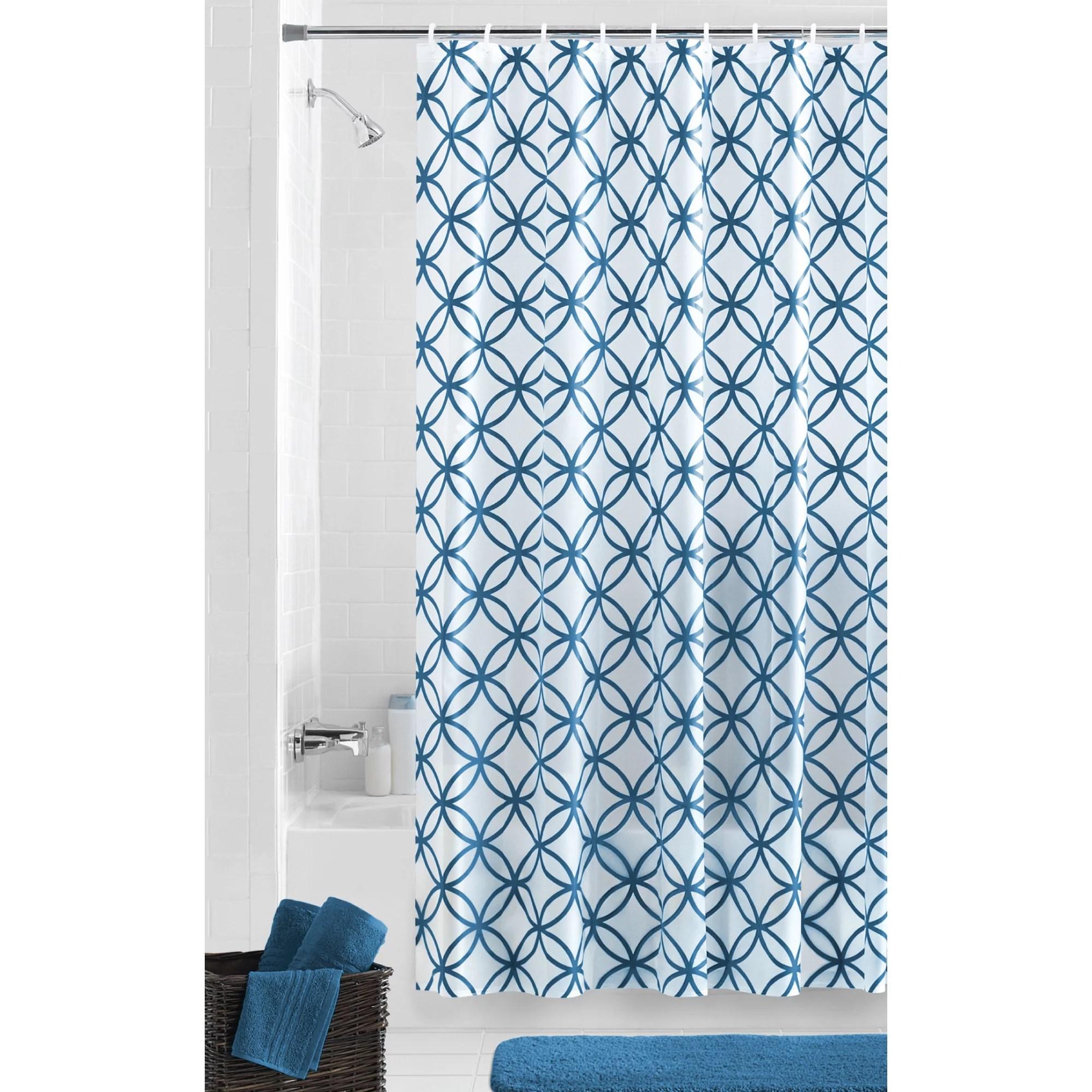 mainstays waterproof hadley peva shower curtain patterned teal 70 x 72