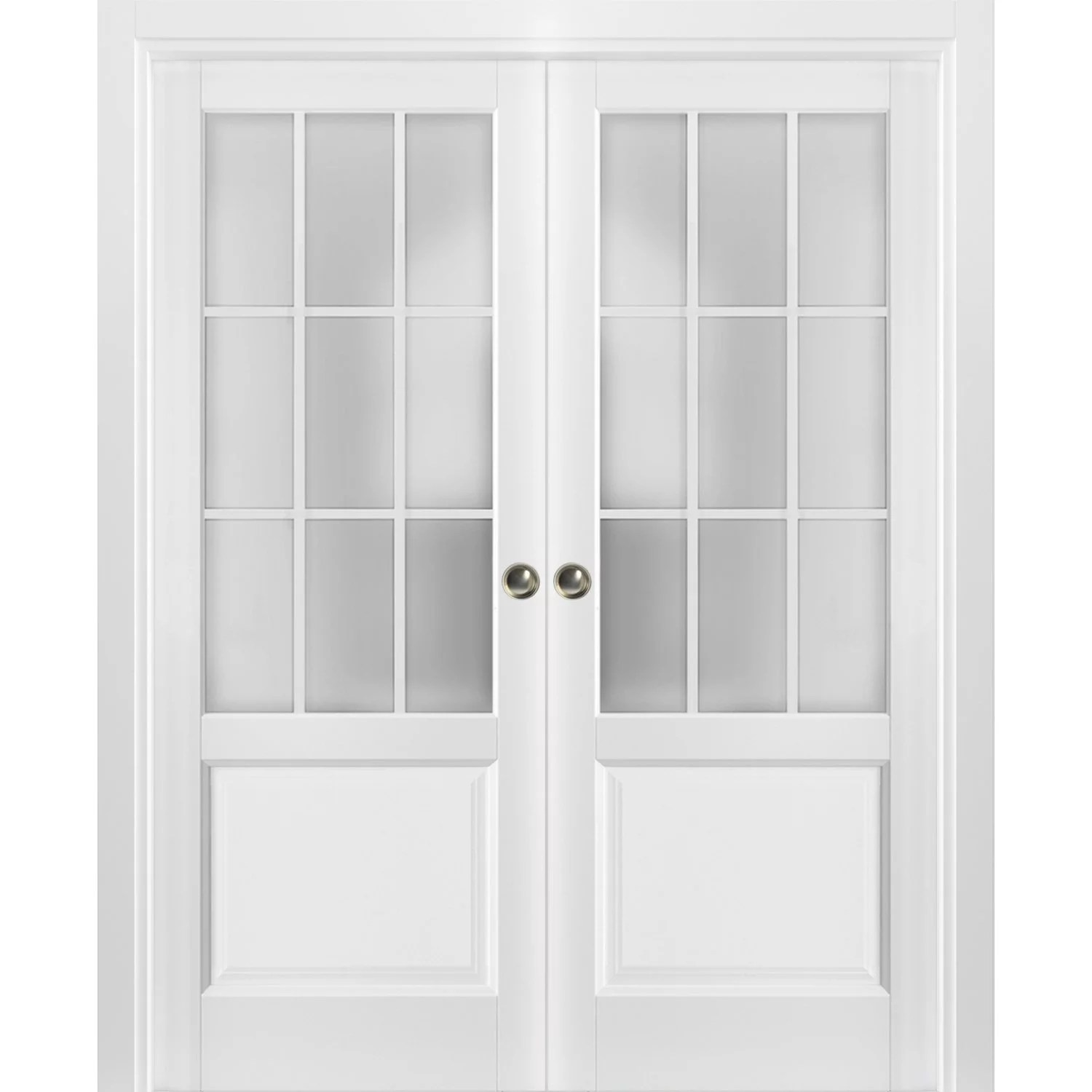 sliding french double pocket doors 60 x 80 inches frosted glass 9 lites walmart com