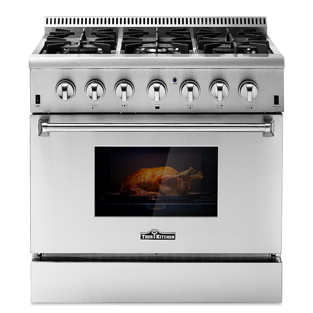 thor kitchen 36inch dual fuel range 36 6 burner 5 2 cu ft free standing stainless steel gas range electric oven