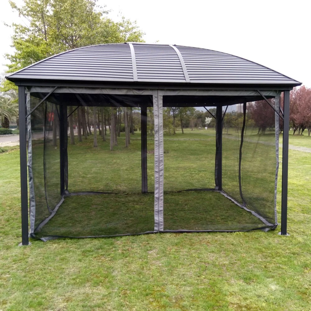 aleko gzm10x12 hardtop round roof patio gazebo with mosquito net 12 x 10 feet black