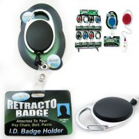 Retractable ID Badge Holder Reel Clip Attaches Key Chain ...