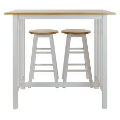 2 Seater Kitchen Table Set Restaurant Equipment White Wooden Tall Stools Farm Style
