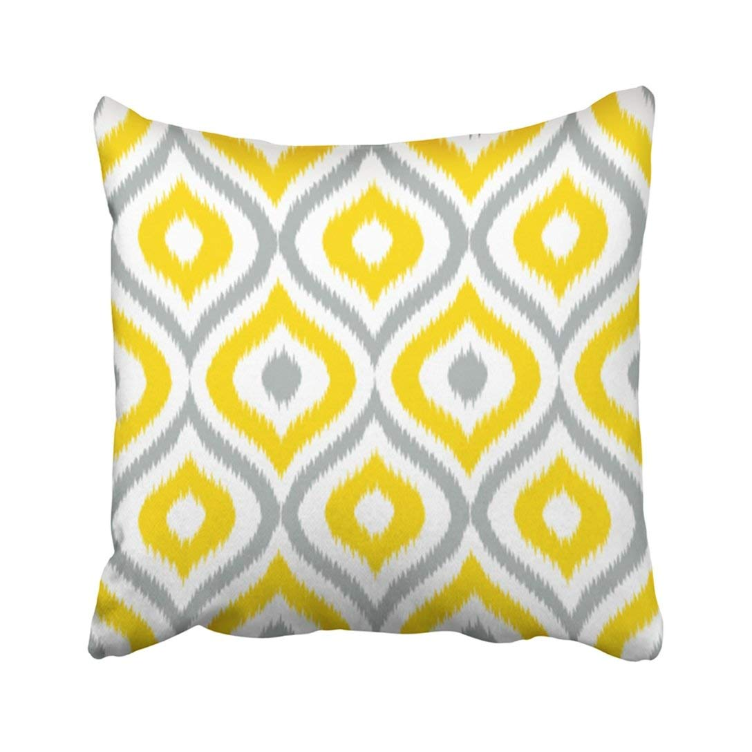 bpbop yellow damask ikat ogee pattern gray accessory graphic grey pillowcase throw pillow cover case 18x18 inches