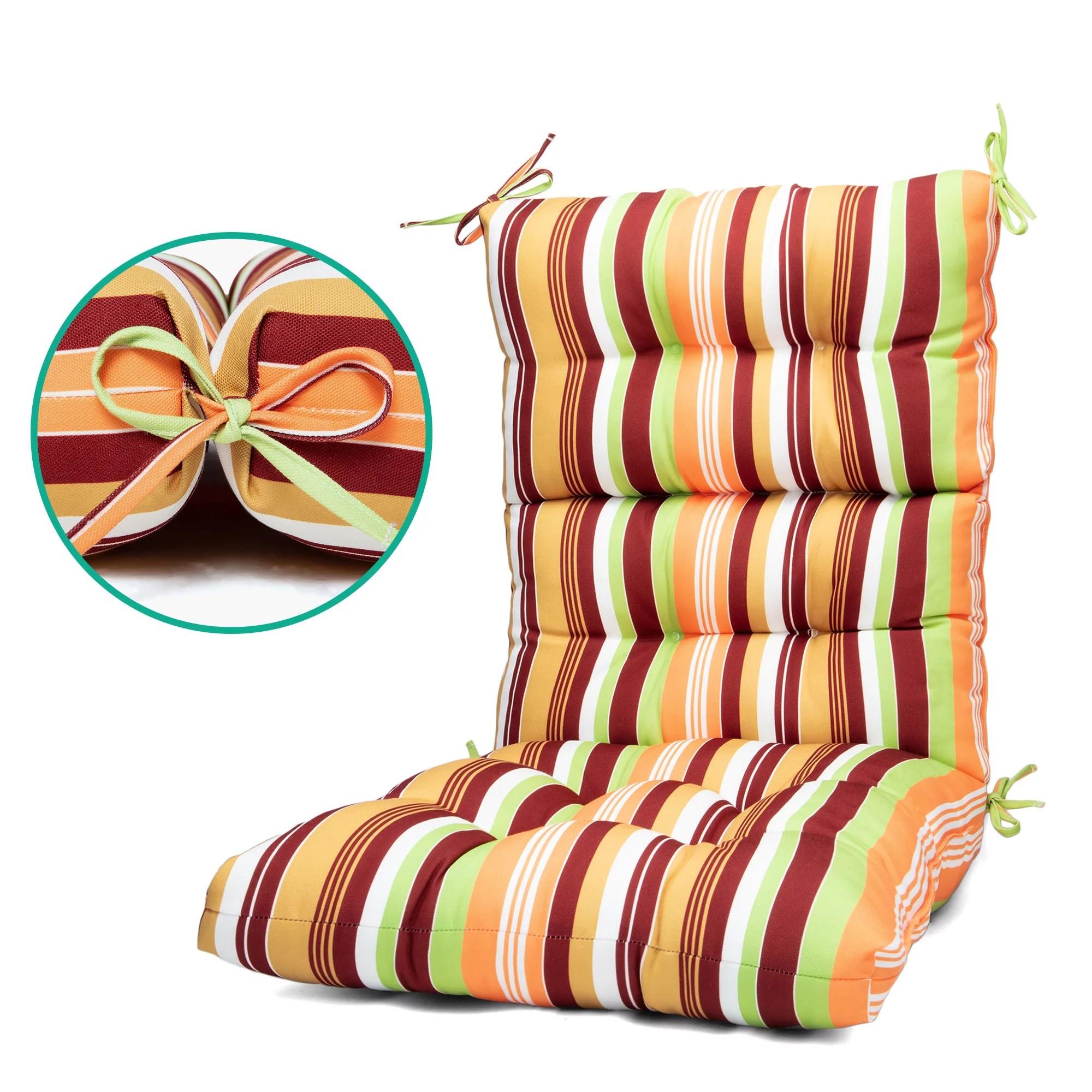 outdoor indoor square fiesta stripe chair cushion deep seat patio seat and back cushion high back chair cushion walmart com