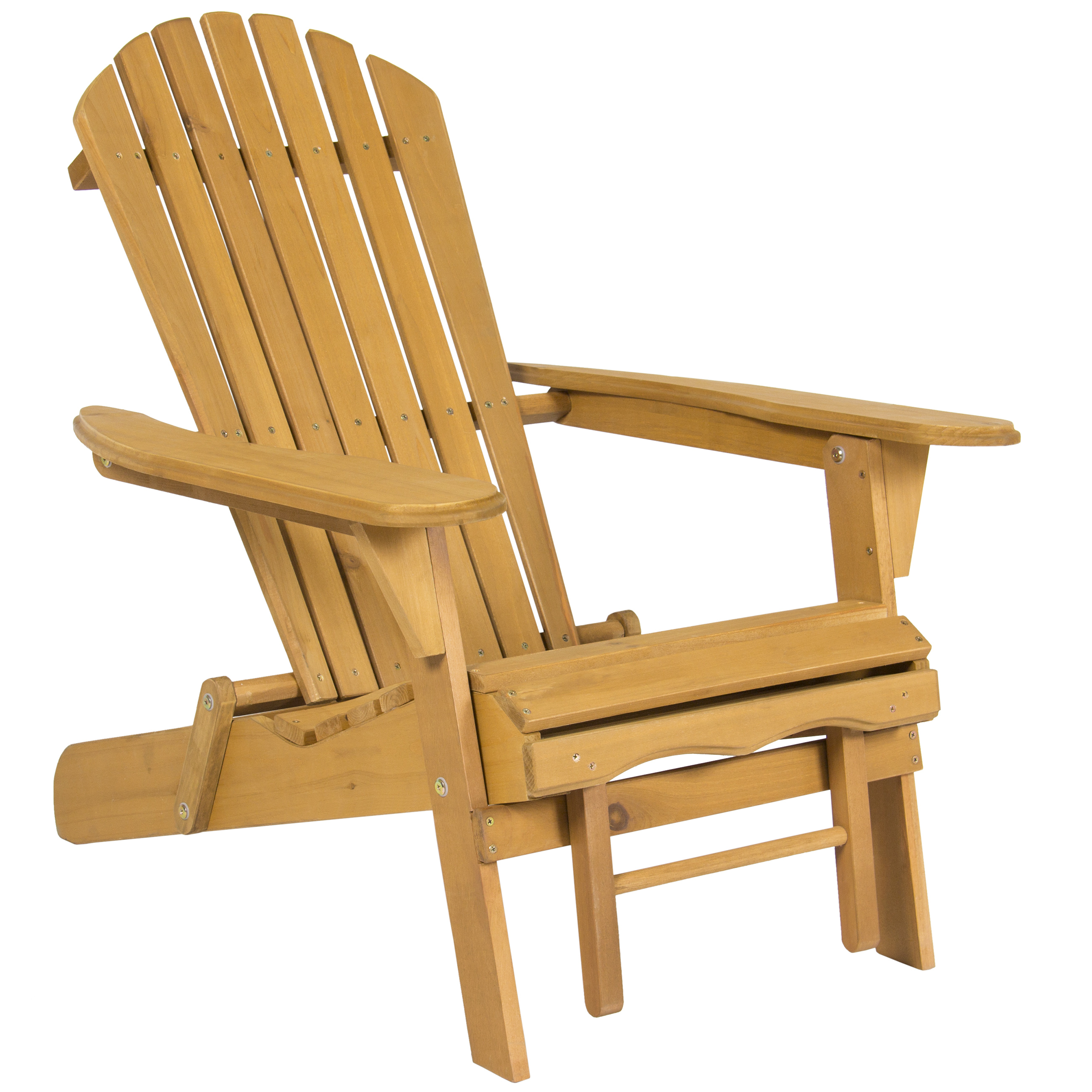 Outdoor Wood Adirondack Chair Foldable w Pull Out Ottoman
