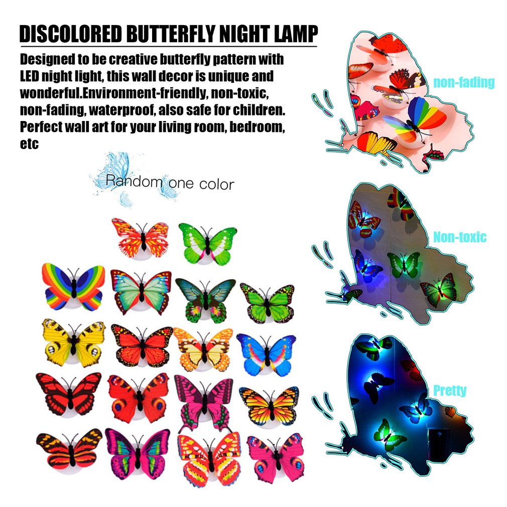 Led Lighting Colorful Butterfly Wall Stickers Led Night Light Home Wall Decor Walmart Canada