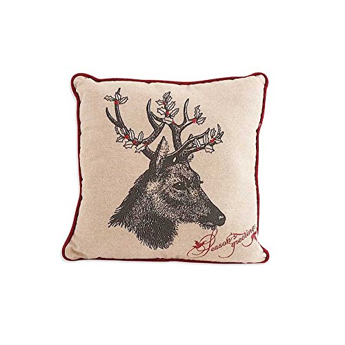 16 Inch Square Linen Pillow with Deer Motif with Holly Antlers By KK Interiors  Walmartcom