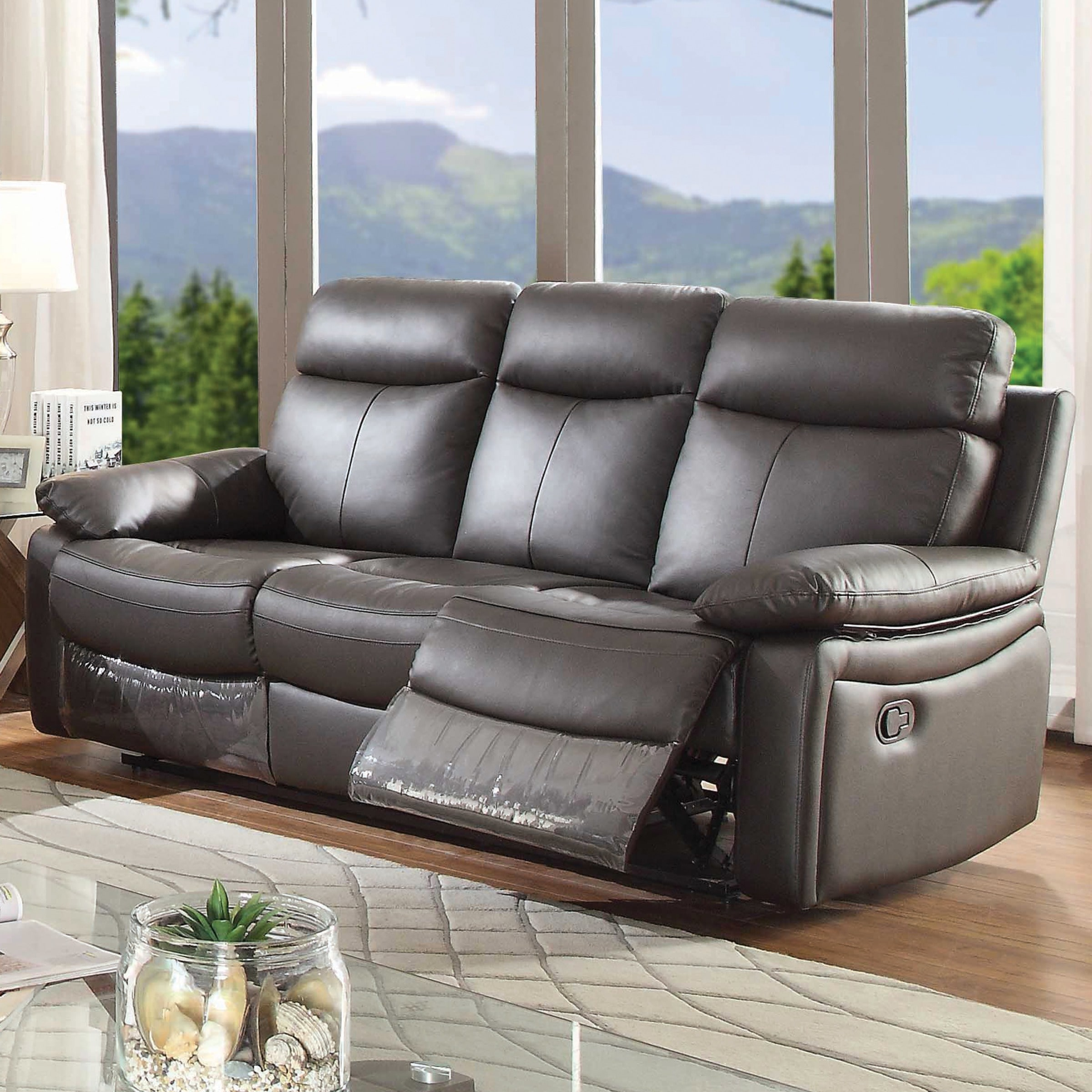 ryker reclining sofa and loveseat 2 piece set old hollywood glam round ac pacific leather walmart com