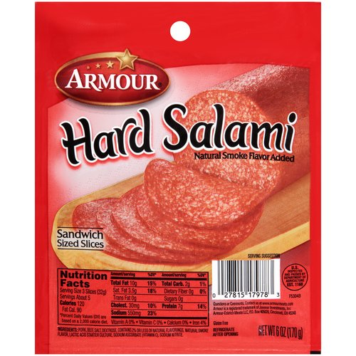 Armour Sliced Hard Salami 6 Oz Walmartcom