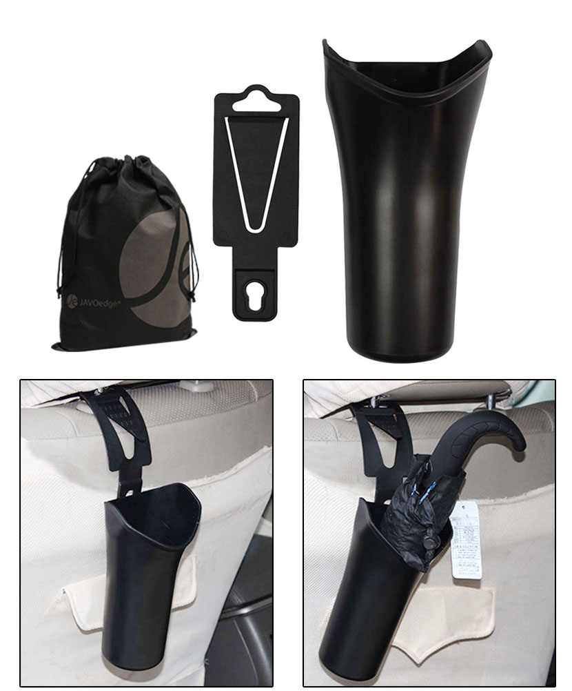 JAVOedge Black Clip On Car Door Multi Purpose Trash Can