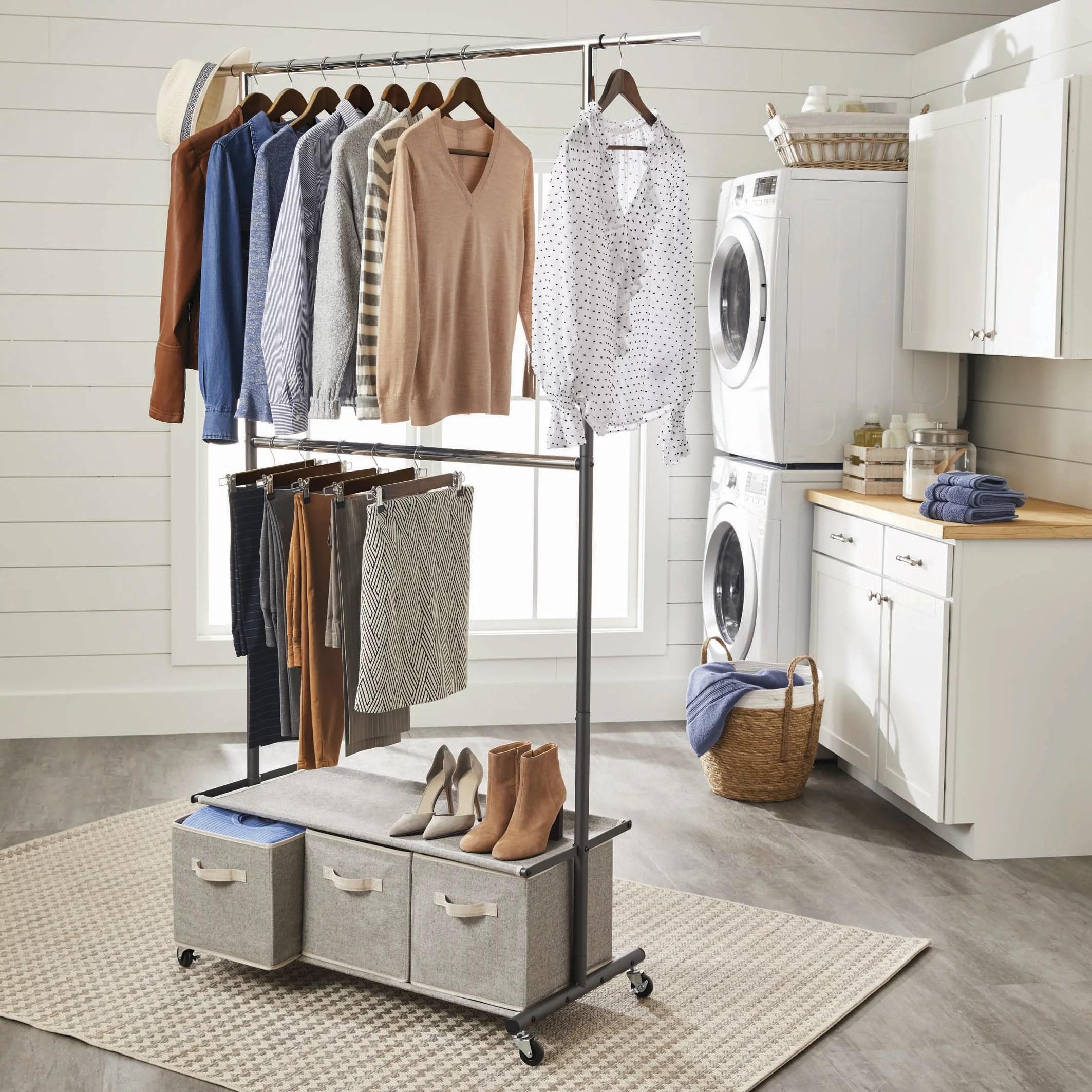 better homes gardens 2 tier garment rack with 3 drawer closet organizer gray