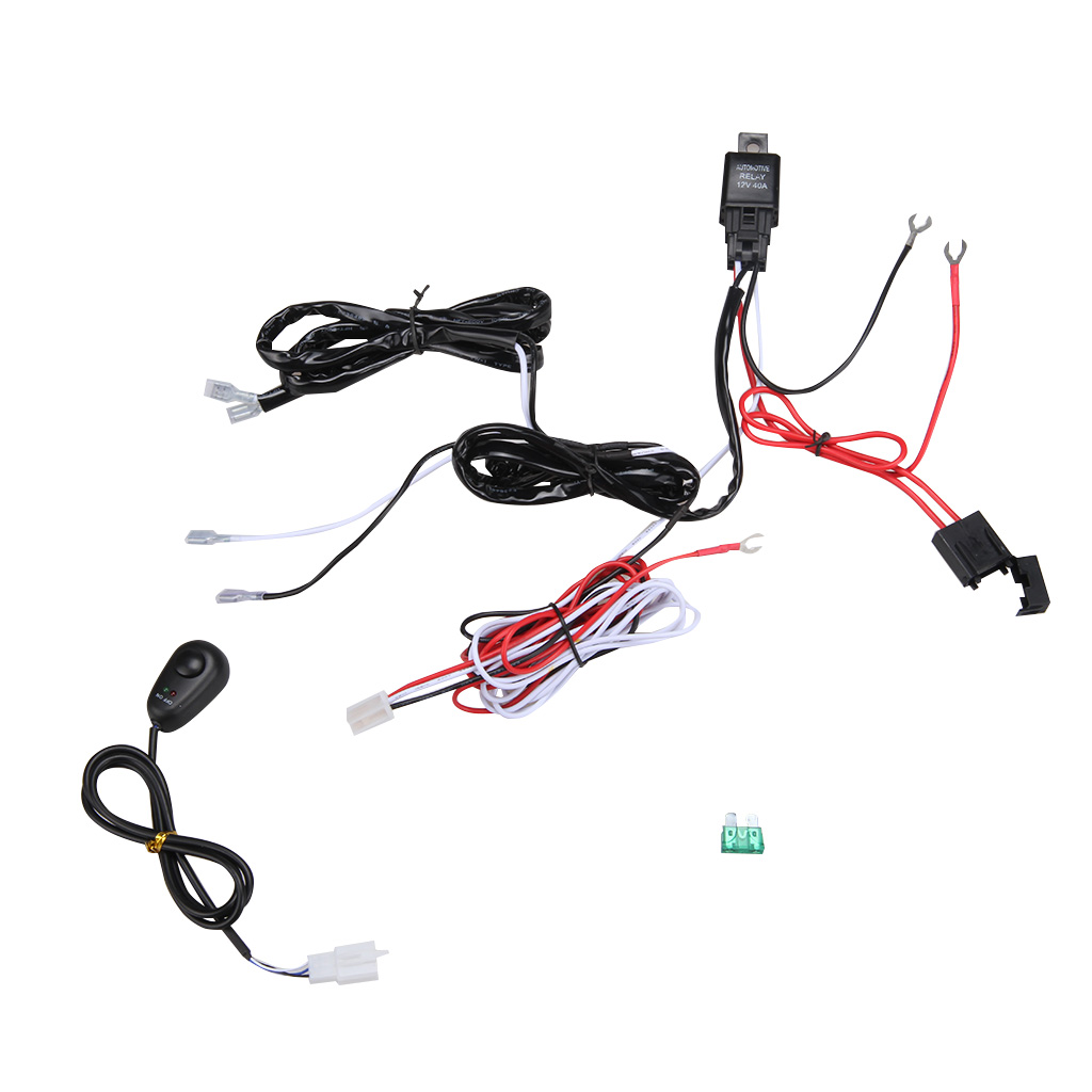 hight resolution of wiring harness kit loom for led work driving light bar with fuse relay 12v 40a walmart com