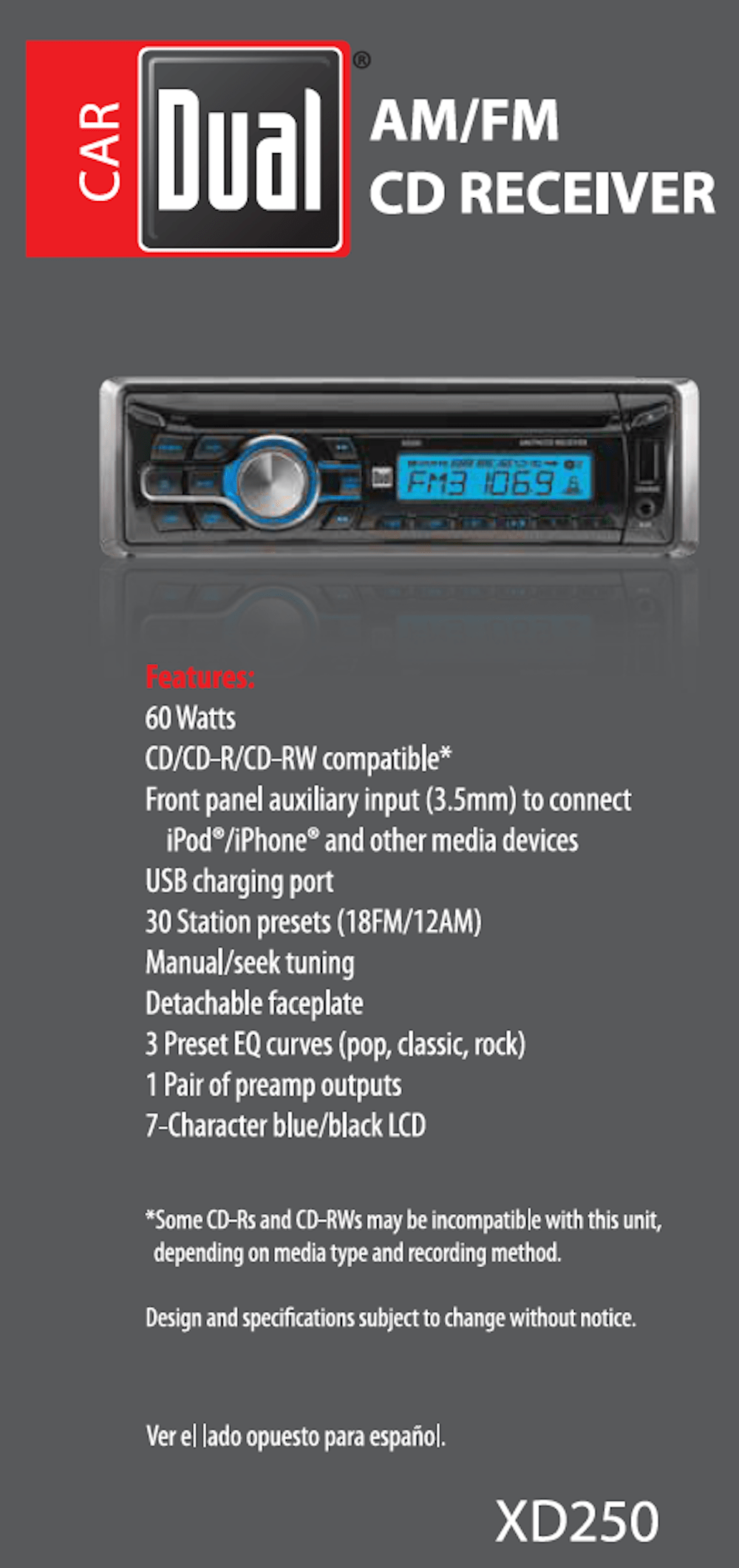 hight resolution of dual electronics xd250 detachable lcd single din car stereo with built in cd usb