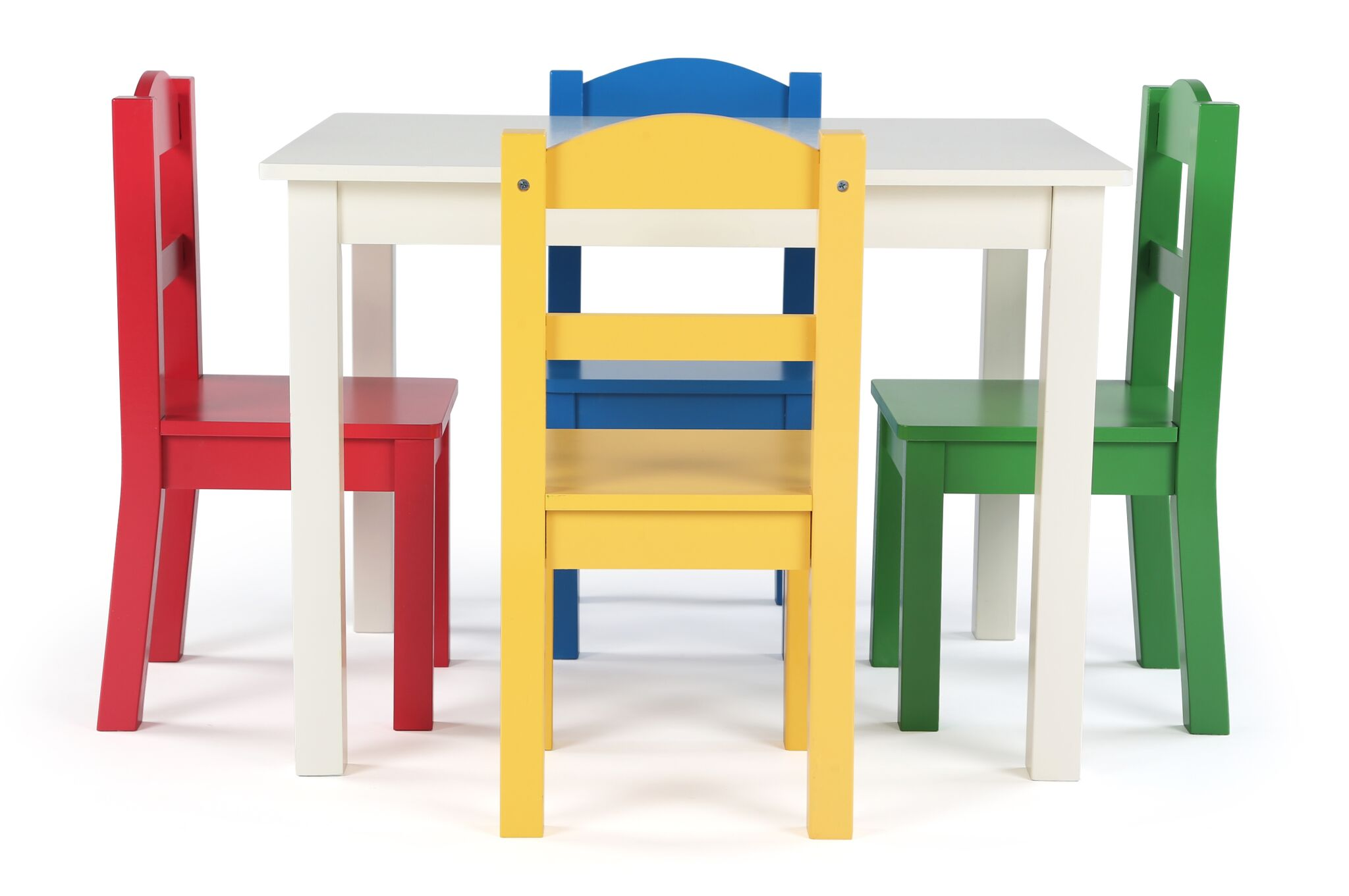 Kids Wood Table And Chairs Tot Tutors Summit Collection Kids Wood Table And 4 Chairs Set White Primary