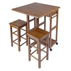 Space Saver Kitchen Table And Chairs Ceramic Tile Backsplash Winsome Wood Suzanne 3 Piece Island Set Multiple Finishes Walmart Com