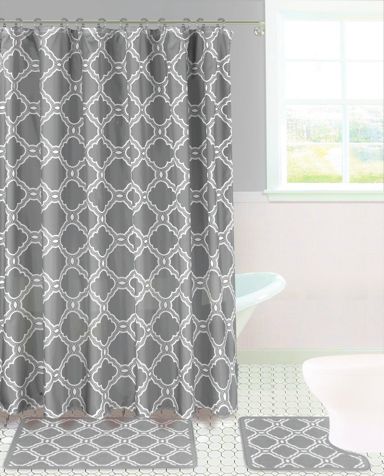 15 piece hotel bathroom sets 2 non slip bath mats rugs fabric shower curtain 12 hooks fresco grey walmart com