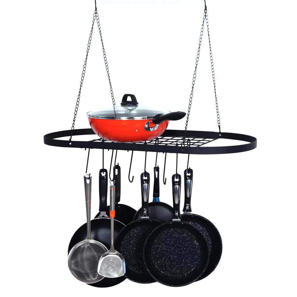 ktaxon pot and pan rack for ceiling with hooks decorative oval mounted storage rack