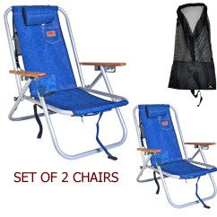 Back Pack Beach Chairs Unfinished Adirondack Chair Deluxe Aluminum Rio Backpack Camping W Storage Pouch Tall Mesh Drawstring Bag Set Of 2 Walmart Com