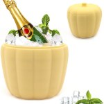 Tauner Pumpkin Ice Bucket Ice Bucket With Lid Double Layer Design For Frozen Drinks And Cocktail Ice Wine On Ice Ice Trays Silicone Ice Tray Ice Cube Trays Crystal Sugar Ice Cube Ice Cup Maker