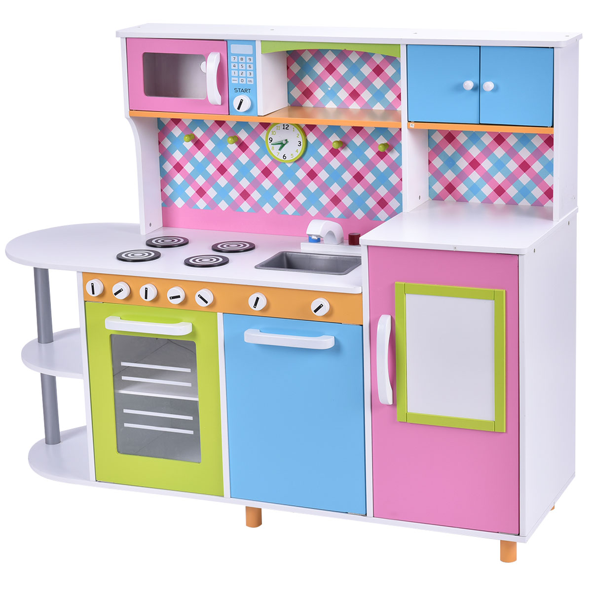 wood kitchen playsets prefab cabinets costway new toy kids cooking pretend play set toddler wooden playset gift walmart com