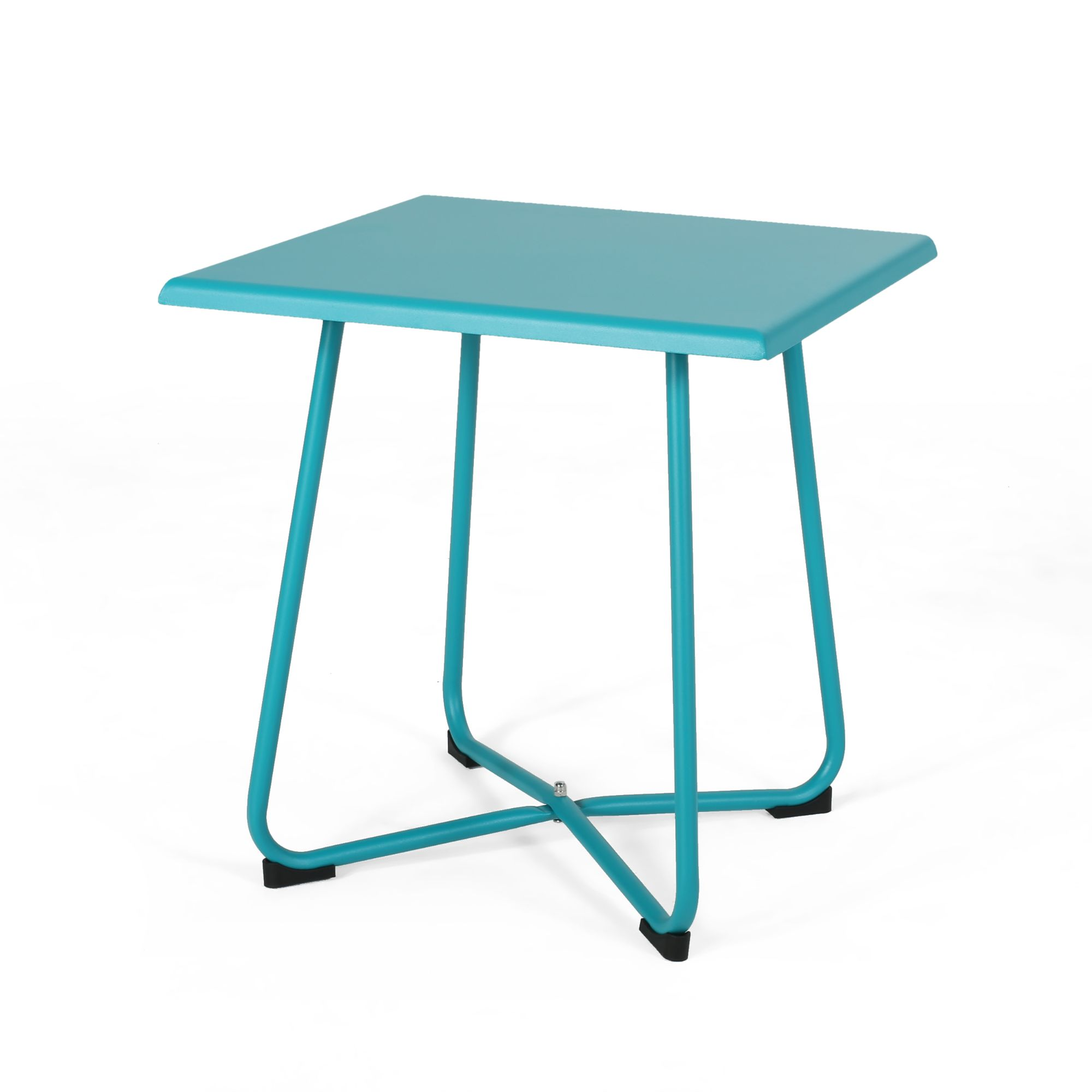 18 75 teal blue contemporary square outdoor patio side table