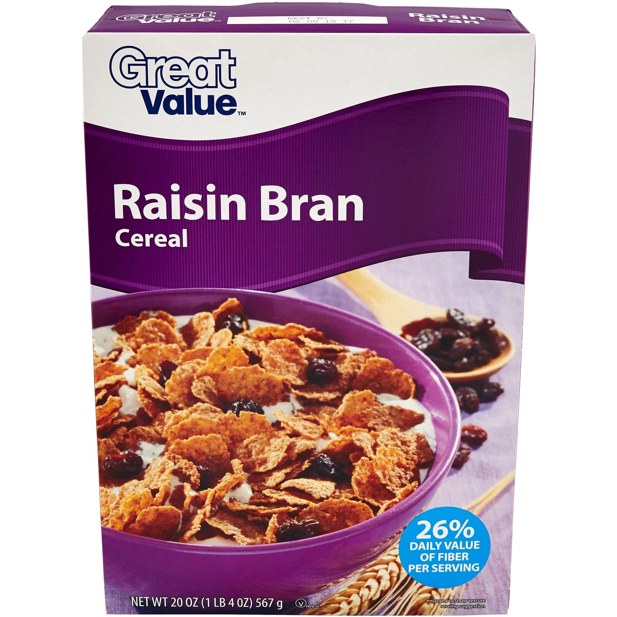 Great Value Raisin Bran Cereal 20 oz - Walmart.com