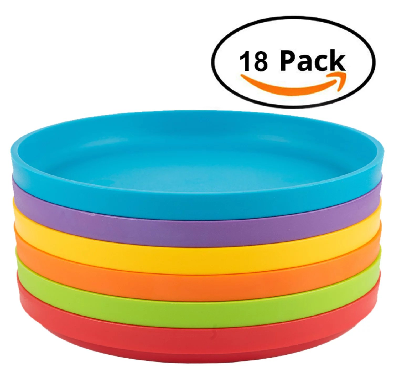 plastic plates for kids 18 piece round plates multicolor microwave safe reusable bpa free