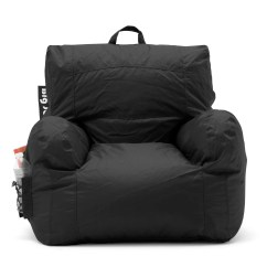 Big Joe Bean Bag Chair Iron Lounge Chairs Black College Dorm Room Kids Video Gaming Tv Drink Holder