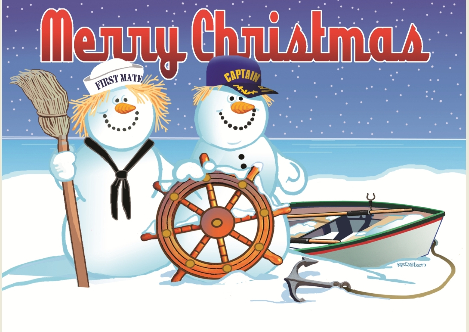 Merry Christmas Ships Captain And First Mate Snowmates 18