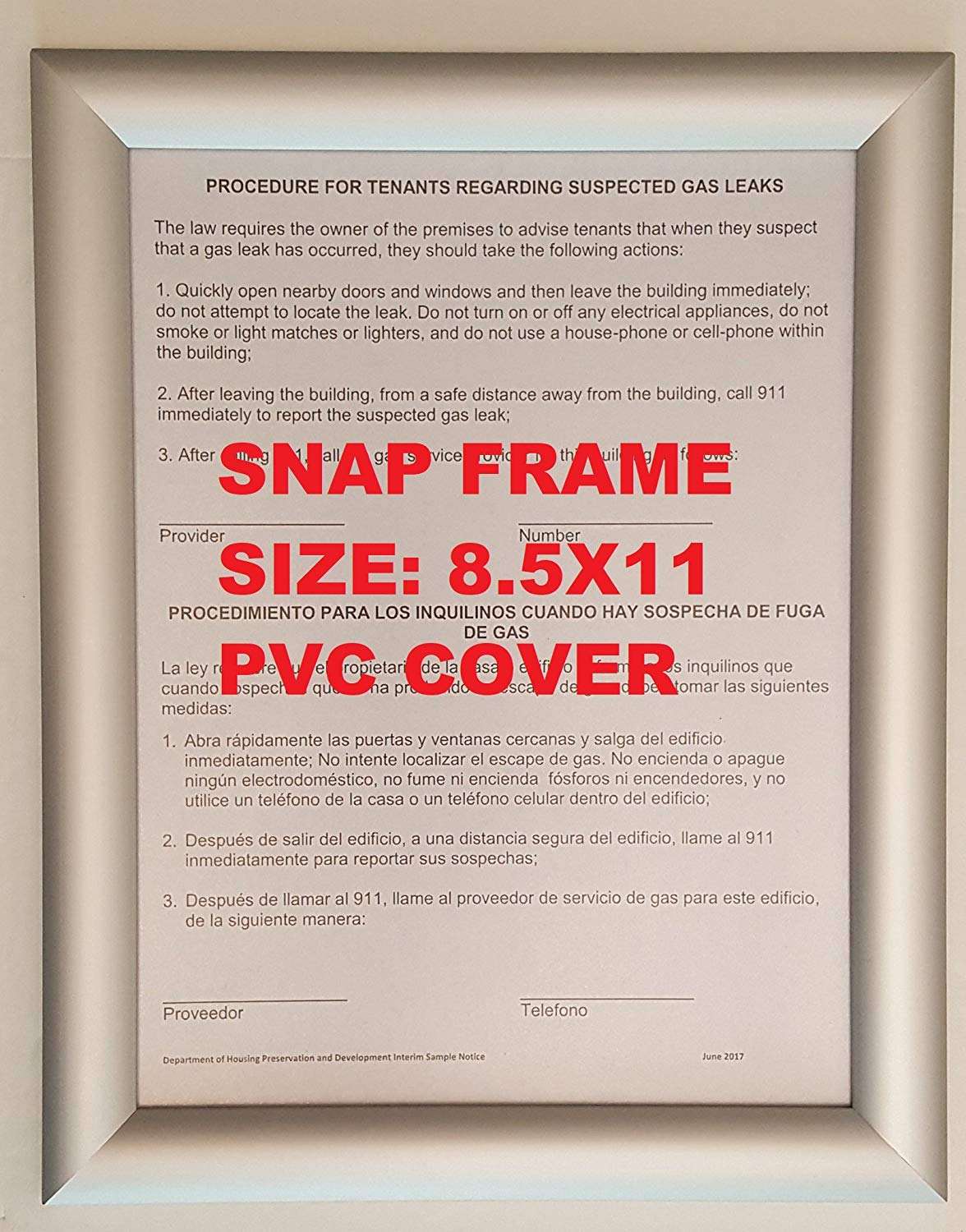 aluminum snap frame for poster 8 5 x 11 inches 25mm profile color silver