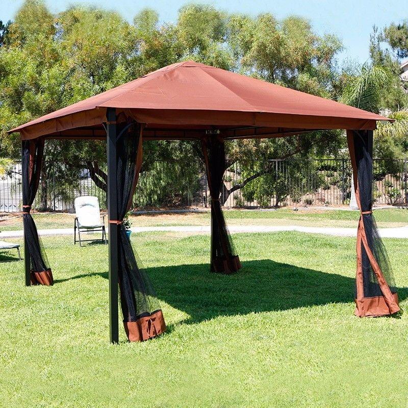 10 x 12 outdoor backyard regency patio canopy gazebo tent with netting walmart com