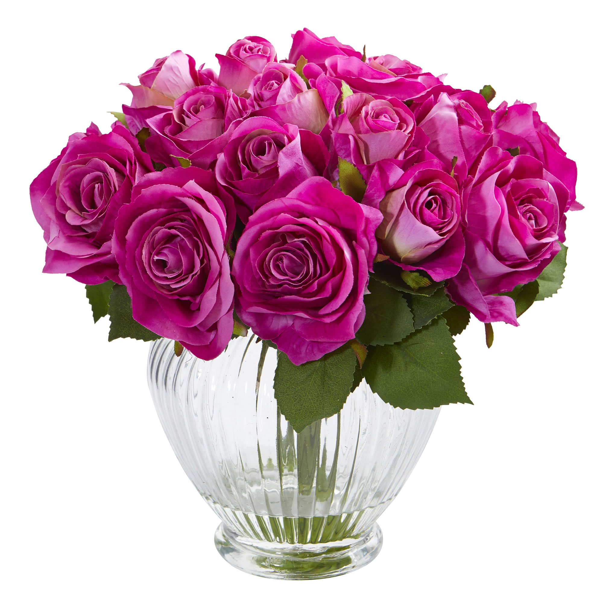 Nearly Natural 9 In Rose Artificial Floral Arrangement In
