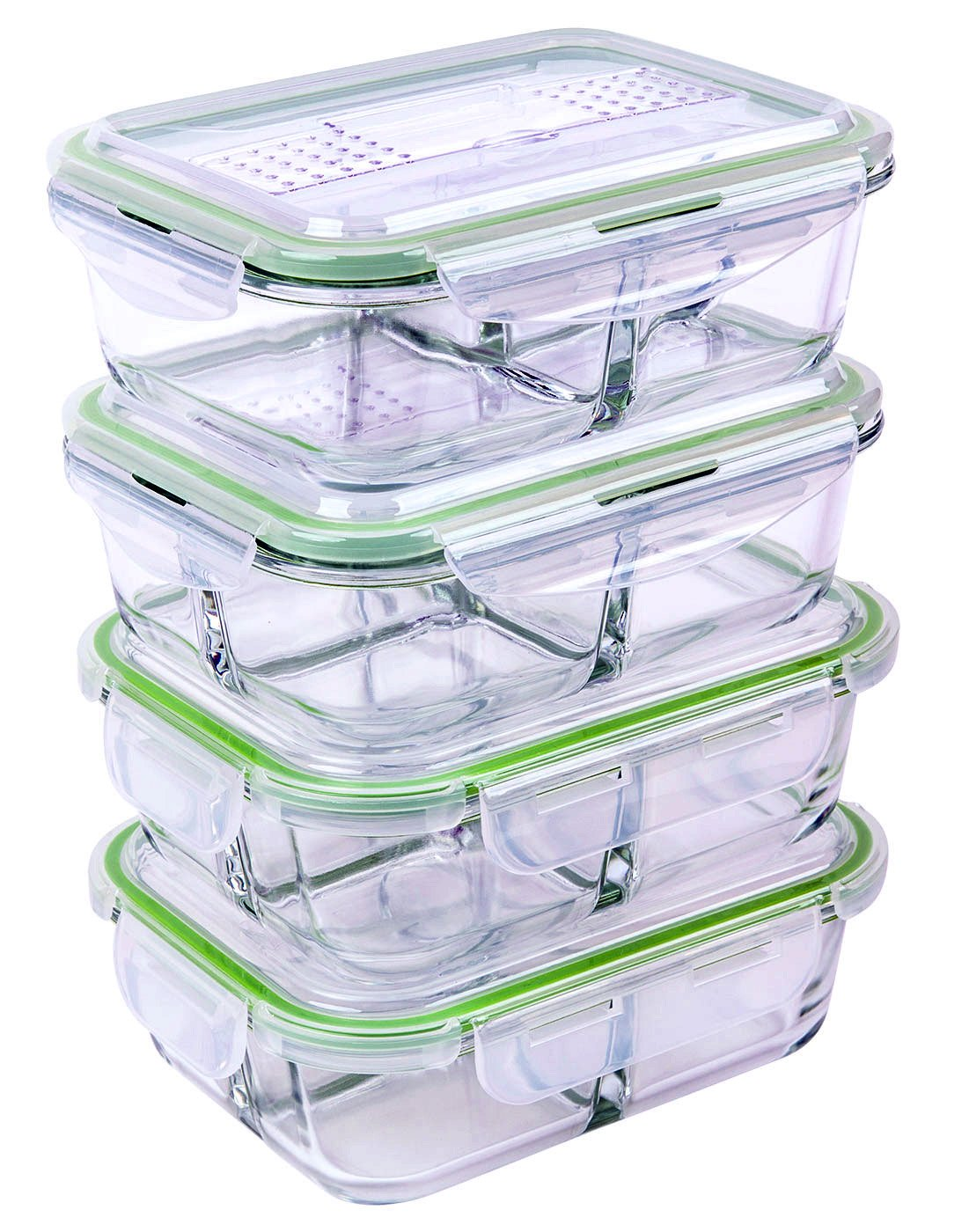 tayyakoushi 35 5 oz 3 compartment glass meal prep food storage containers set airtight locking lids microwave freezer oven dishwasher safe 2