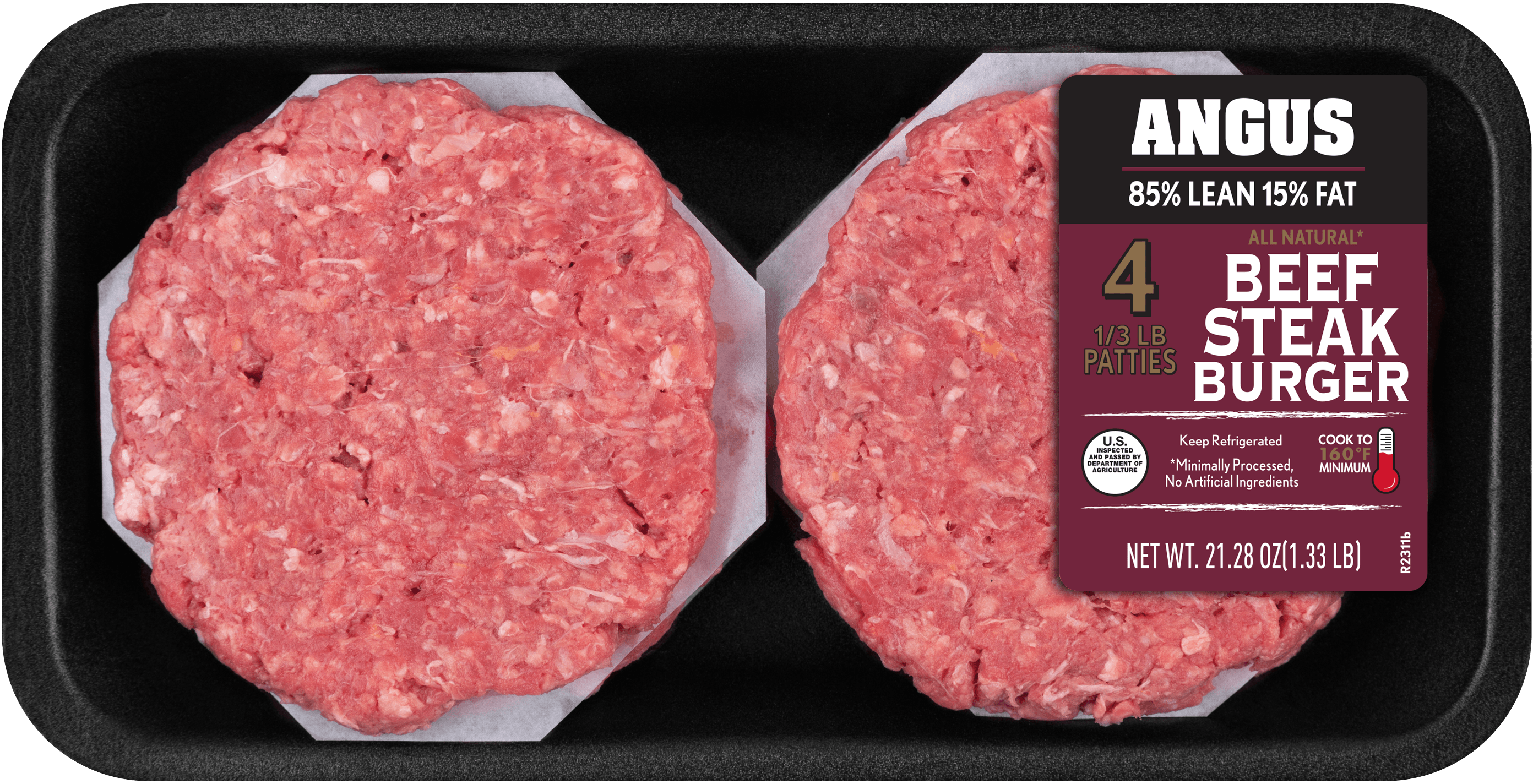 85 Lean15 Fat Angus Ground Beef Patties 4ct 133 lb