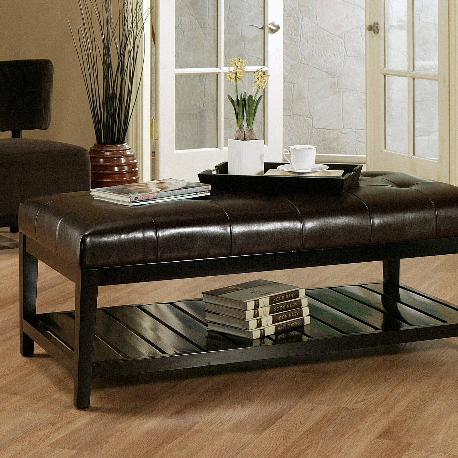 winslow bicast tufted leather coffee table ottoman walmart com