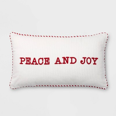 embroidered peace and joy corduroy lumbar throw pillow white red threshold