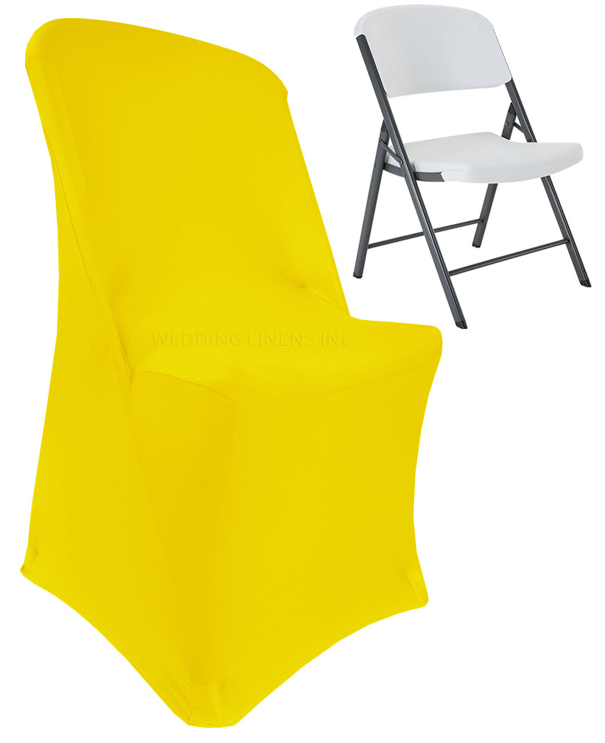 party decorations chair covers distressed antique white dining chairs wedding linens inc lifetime spandex stretch fitted folding decoration cover canary yellow walmart com