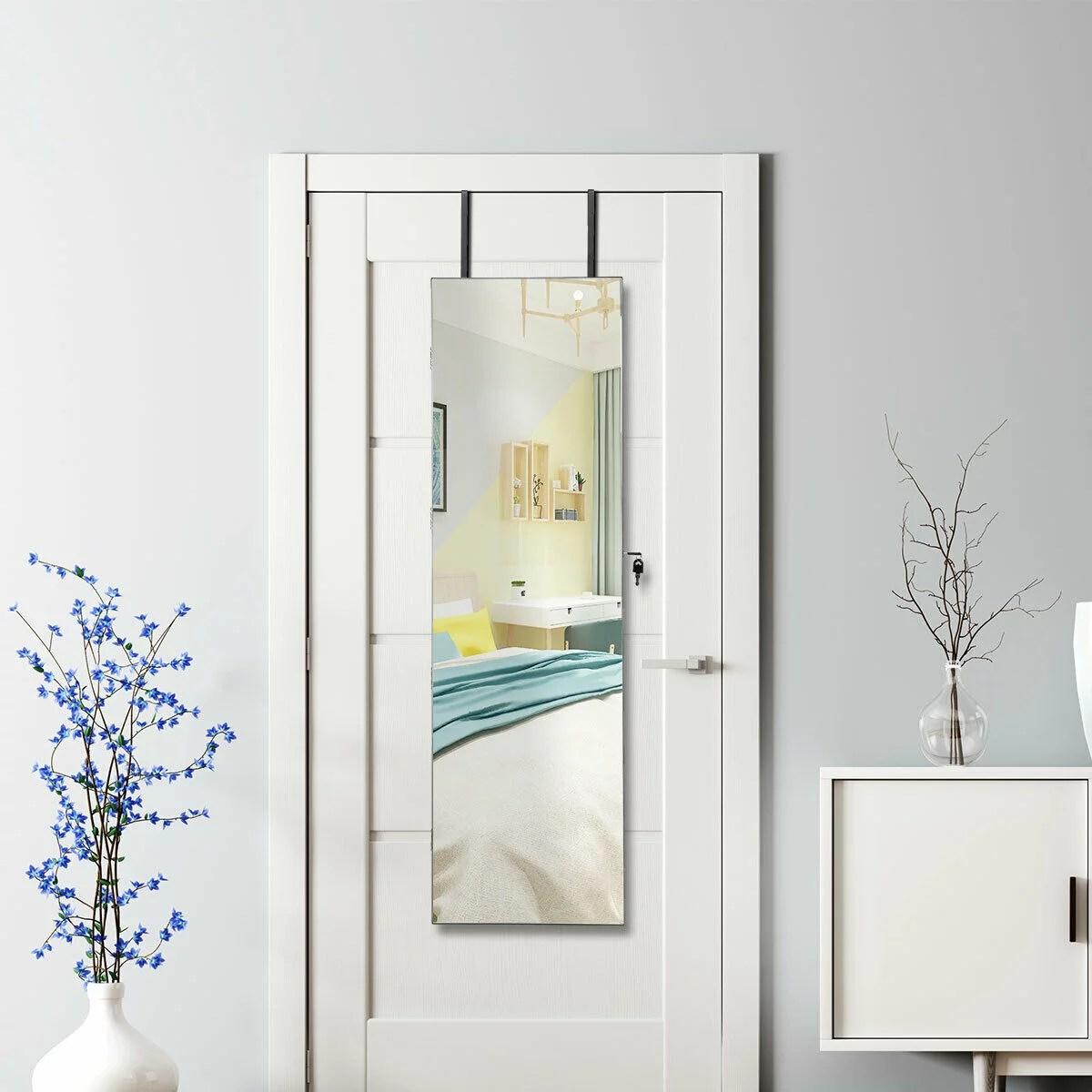 Gymax Armoire A Bijoux Murale Avec Lumiere Led Et Miroir Accrochee A La Porte 36 X 10 X 120 Cm Walmart Canada