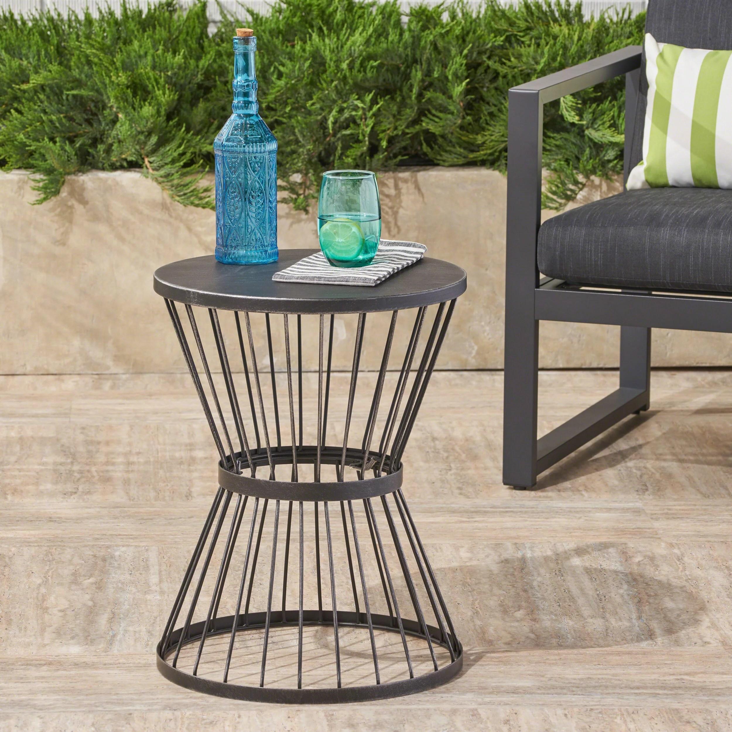 fern outdoor 16 inch matte black iron side table