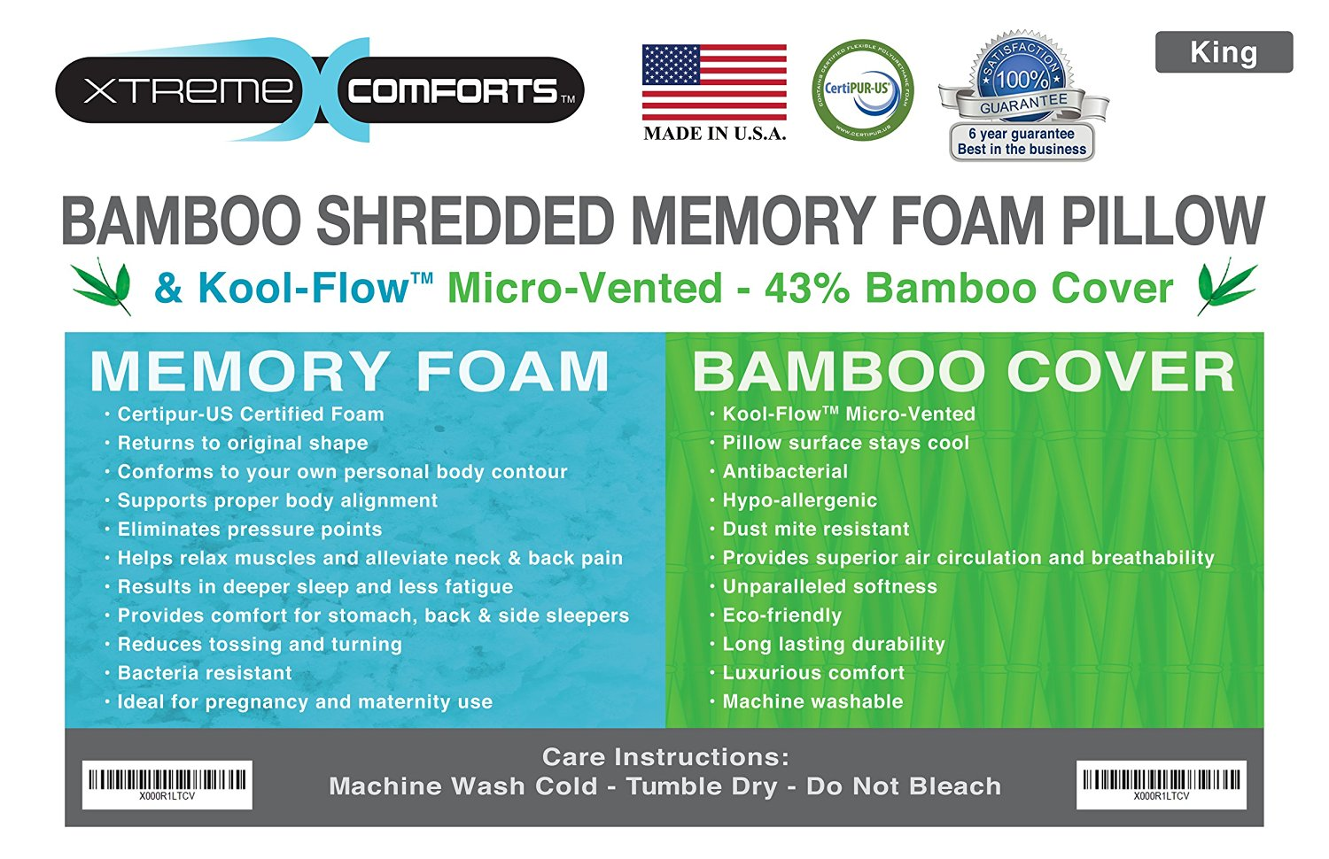 xtreme comforts hypoallergenic shredded memory foam pillow with kool flow bamboo cover machine washable