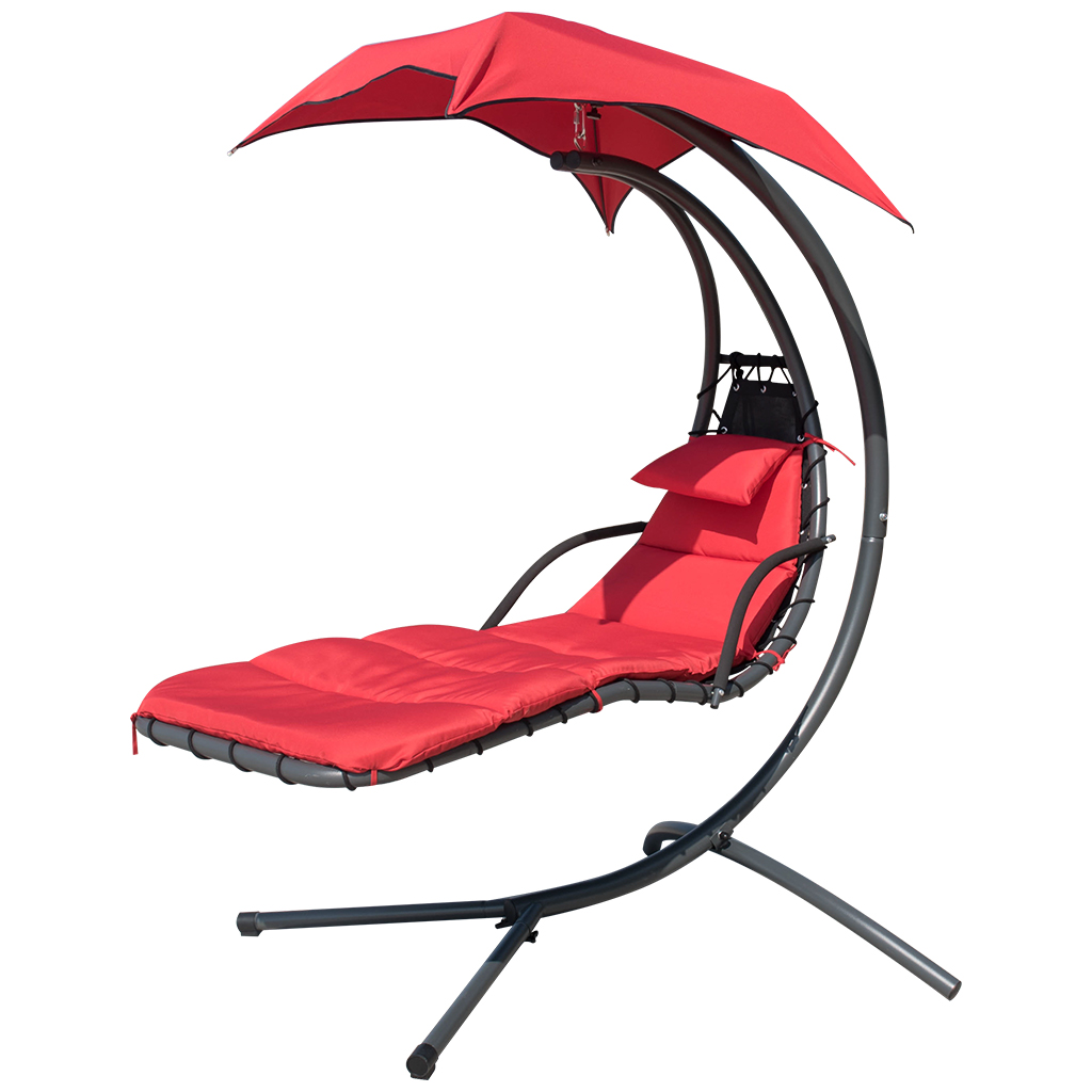 Hanging Chair Outdoor Finether Hanging Chaise Lounge Chair Outdoor Indoor Hammock Chair Swing With Arc Stand Canopy And Cushion For Patio Beach Bedroom Yard Garden Nail