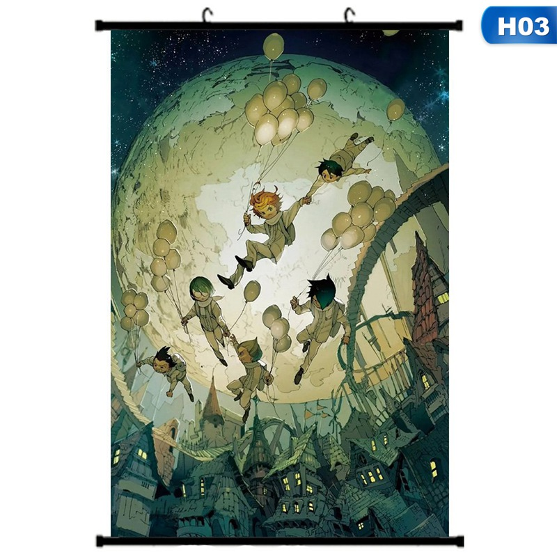 akoada anime the promised neverland characters home decor poster wall scroll hanging painting h01